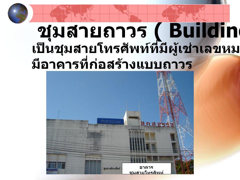 ชุมสายถาวร ( Building Type ) เป็นชุมสายโทรศัพท์ที่มีผู้เช่าเลขหมายจำนวนมาก มีอาคารที่ก่อสร้างแบบถาวร อาคาร ชุมสายโทรศัพท์