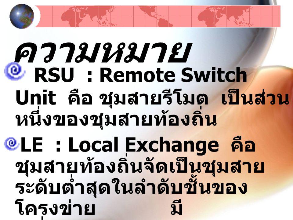 ความหมาย RSU : Remote Switch Unit คือ ชุมสายรีโมต เป็นส่วน หนึ่งของชุมสายท้องถิ่น LE : Local Exchange คือ ชุมสายท้องถิ่นจัดเป็นชุมสาย ระดับต่ำสุดในลำดับชั้นของ โครงข่าย มี เครื่องโทรศัพท์ต่ออยู่เป็นรูปดาว เช่นเดียวกับชุมสาย RSU
