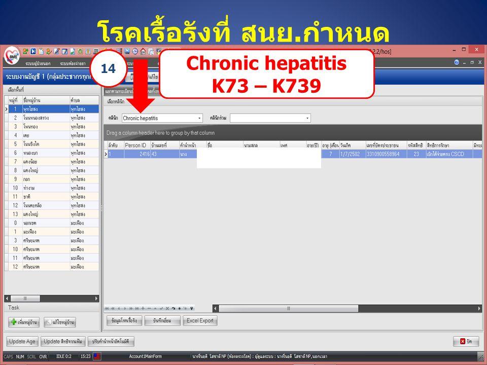 โรคเรื้อรังที่ สนย.กำหนด Chronic hepatitis K73 – K739 14