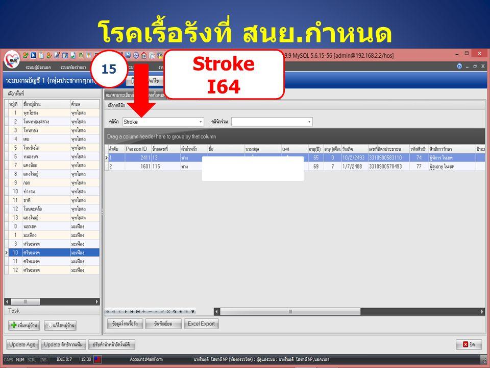 โรคเรื้อรังที่ สนย.กำหนด Stroke I64 15