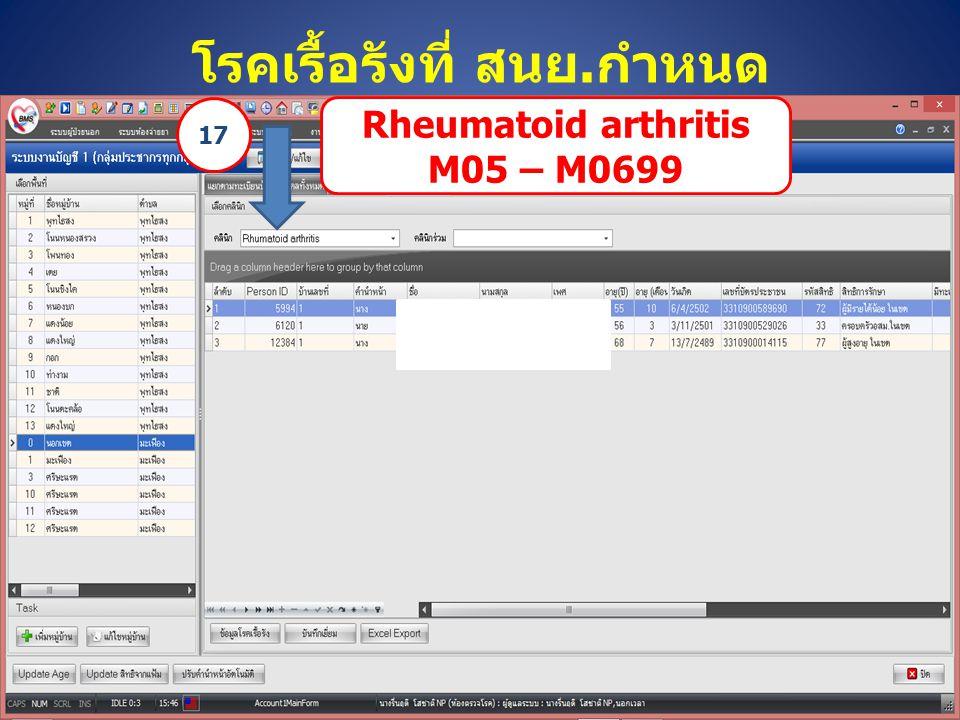 โรคเรื้อรังที่ สนย.กำหนด Rheumatoid arthritis M05 – M0699 17