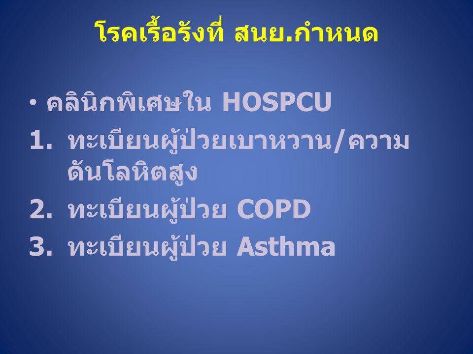 โรคเรื้อรังที่ สนย.กำหนด คลินิกพิเศษใน HOSPCU 1.ทะเบียนผู้ป่วยเบาหวาน/ความ ดันโลหิตสูง 2.ทะเบียนผู้ป่วย COPD 3.ทะเบียนผู้ป่วย Asthma