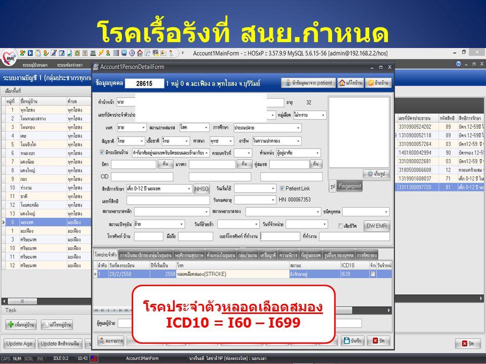 โรคเรื้อรังที่ สนย.กำหนด โรคประจำตัวหลอดเลือดสมอง ICD10 = I60 – I699