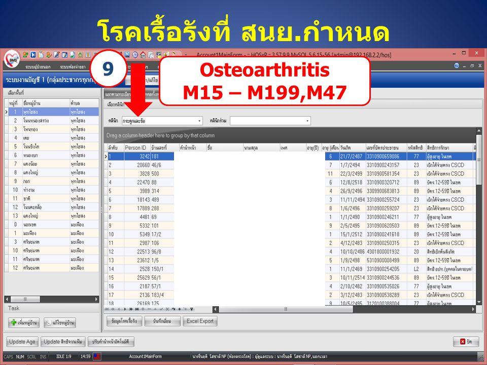 โรคเรื้อรังที่ สนย.กำหนด Osteoarthritis M15 – M199,M47 9