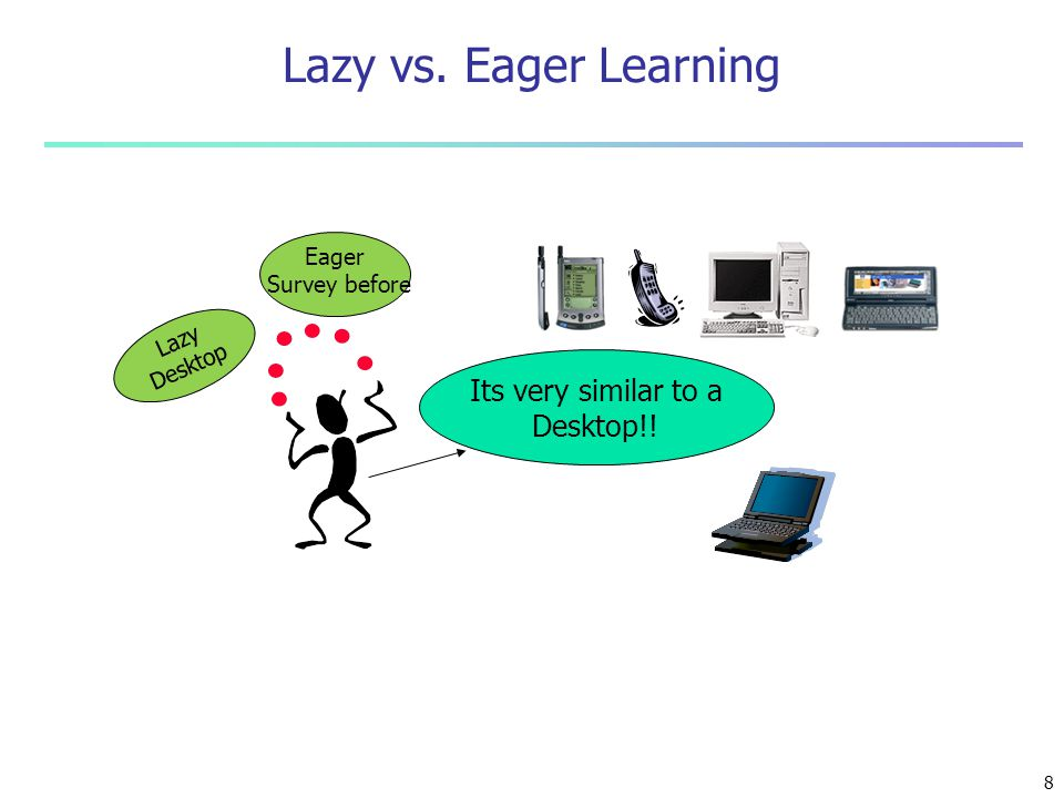 Its very similar to a Desktop!! Lazy Desktop Eager Survey before Lazy vs. Eager Learning 8