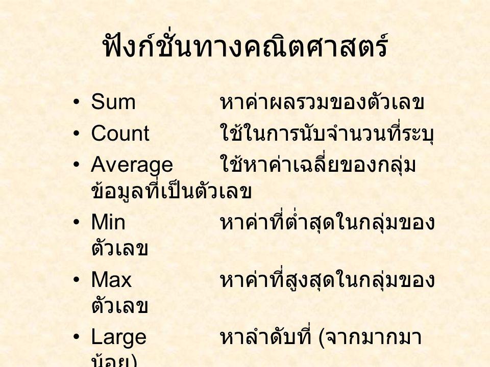 ฟังก์ชั่นทางคณิตศาสตร์ Sum หาค่าผลรวมของตัวเลข Count ใช้ในการนับจำนวนที่ระบุ Average ใช้หาค่าเฉลี่ยของกลุ่ม ข้อมูลที่เป็นตัวเลข Min หาค่าที่ต่ำสุดในกลุ่มของ ตัวเลข Max หาค่าที่สูงสุดในกลุ่มของ ตัวเลข Large หาลำดับที่ ( จากมากมา น้อย ) Small หาลำดับที่ ( จากน้อยไป มาก )