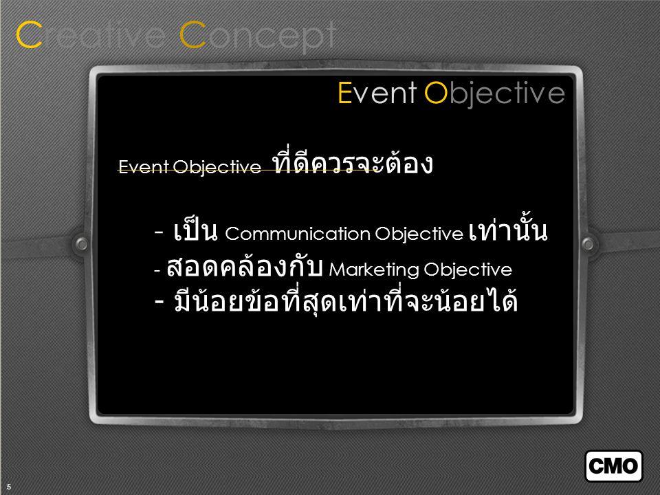 5 Event Objective Creative Concept Event Objective ที่ดีควรจะต้อง - เป็น Communication Objective เท่านั้น - สอดคล้องกับ Marketing Objective - มีน้อยข้อที่สุดเท่าที่จะน้อยได้