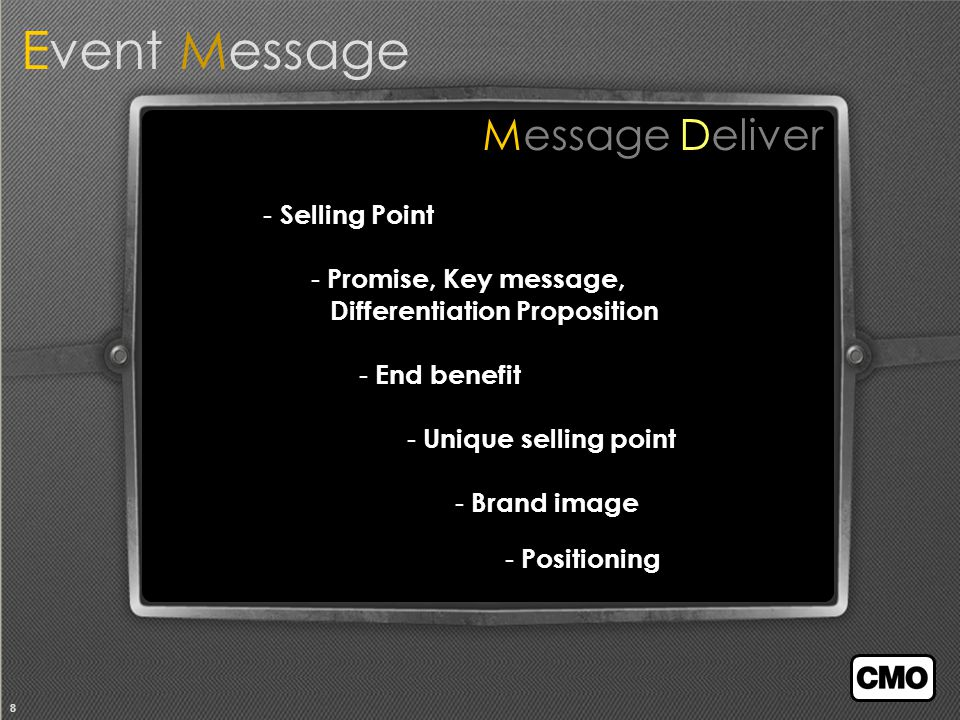 8 Message Deliver - Selling Point - Promise, Key message, Differentiation Proposition - End benefit - Unique selling point - Brand image Event Message - Positioning