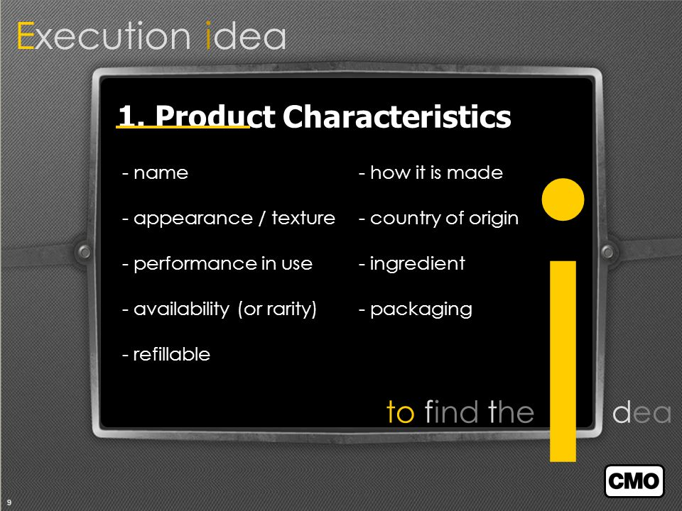 9 Execution idea i to find the dea 1.