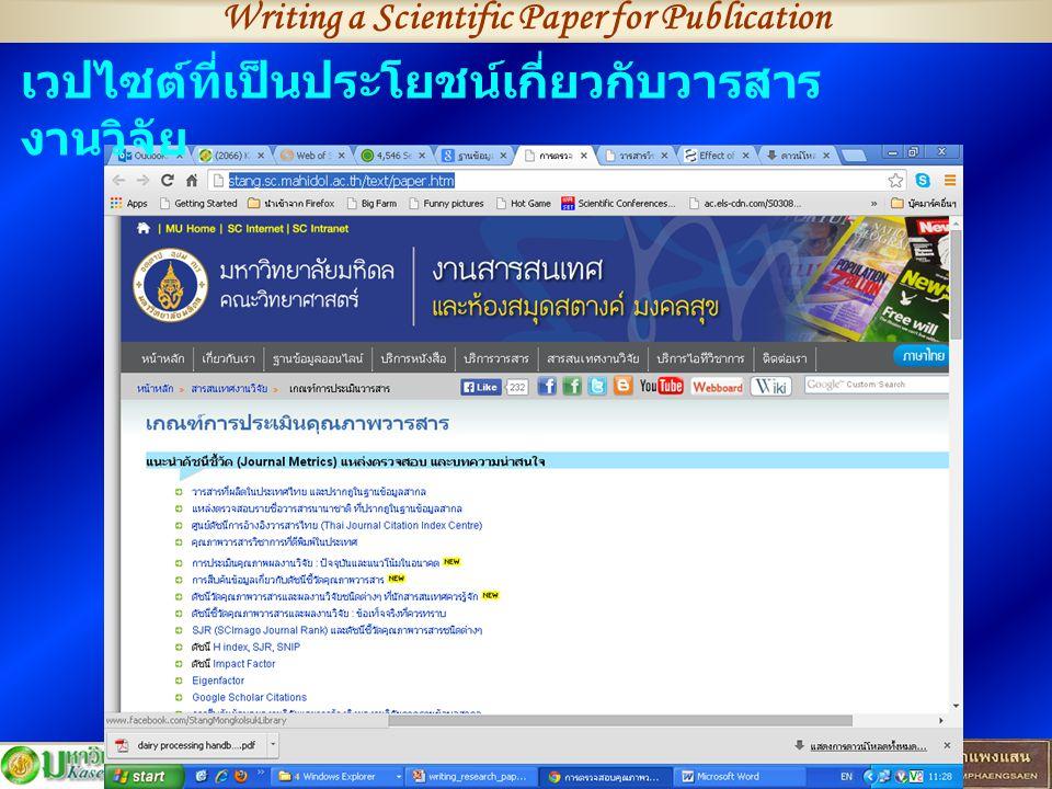 Writing a Scientific Paper for Publication http://stang.sc.mahidol.ac.th/t ext/paper.htm เวปไซต์ที่เป็นประโยชน์เกี่ยวกับวารสาร งานวิจัย