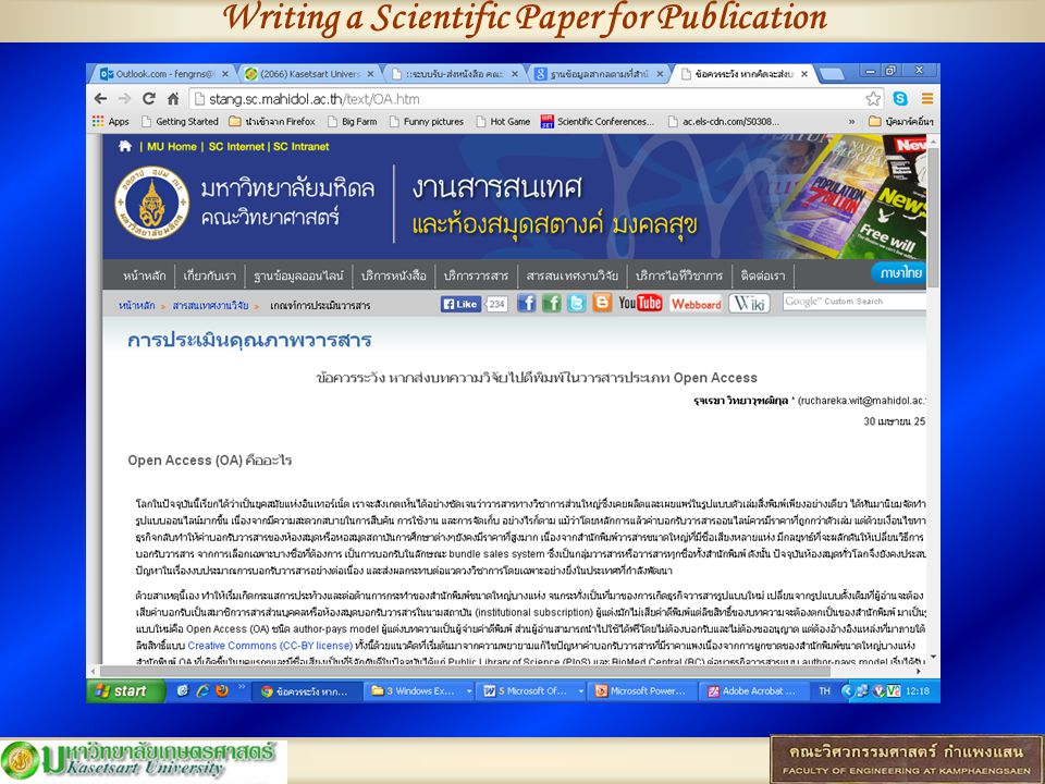 Writing a Scientific Paper for Publication จะปรากฏผลดังนี้