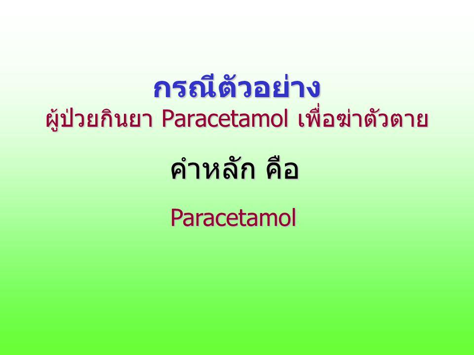 กรณีตัวอย่าง ผู้ป่วยกินยา Paracetamol เพื่อฆ่าตัวตาย คำหลัก คือ Paracetamol