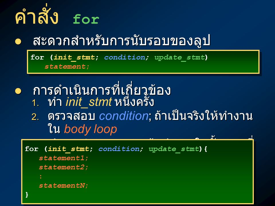 คำสั่ง for : ผังการทำงานSTARTSTART ENDEND false conditioncondition true Initialize counter Update counter StatementStatementStatementStatement