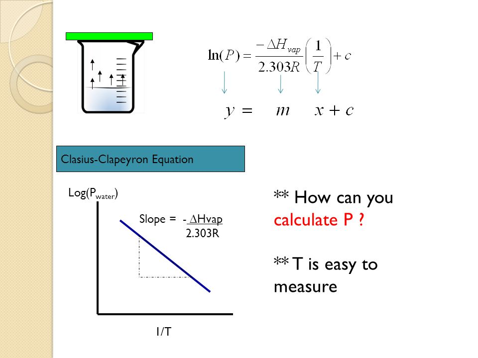 Clasius-Clapeyron Equation Log(P water ) 1/T Slope = - ∆Hvap 2.303R ** How can you calculate P ? ** T is easy to measure