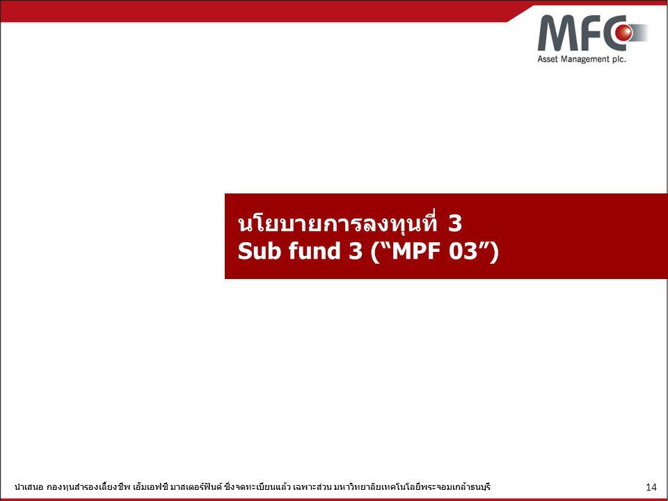 นำเสนอ กองทุนสำรองเลี้ยงชีพ เอ็มเอฟซี มาสเตอร์ฟันด์ ซึ่งจดทะเบียนแล้ว เฉพาะส่วน มหาวิทยาลัยเทคโนโลยีพระจอมเกล้าธนบุรี 14 นโยบายการลงทุนที่ 3 Sub fund