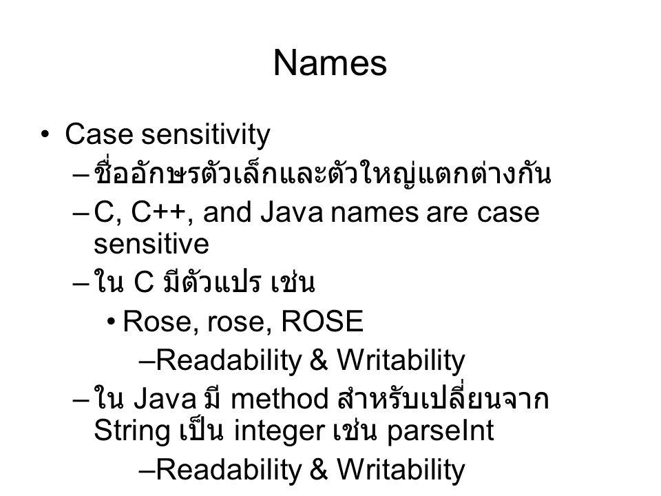 Names Special words – เป็นการนำคำที่สอดคล้องกับการปฏิบัติงาน มาใช้ในโปรแกรมเพื่อให้อ่านโปรแกรมได้ง่าย ขึ้น –Keyword คือคำที่ขึ้นอยู่กับ context เช่น ใน Fortran REAL APPLE REAL INTEGER REAL = 3.4INTEGER REAL –Reserved word คือคำที่สงวนไว้ ไม่สามารถ นำไปใช้สร้างเป็นชื่อได้ –Predefined มีความหมายระหว่าง reserves word และ user-defined name –printf ของภาษา C ?