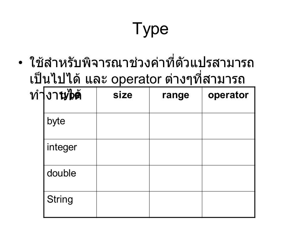 Value คือ content ของ memory cell ของตัวแปรนั้น byte b1 byte b2 integer i double d บางครั้งเรียก r-value 1234567890