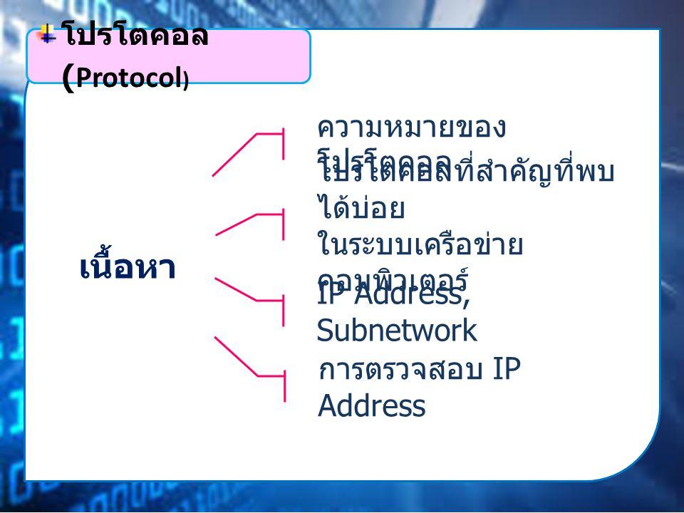 เนื้อหา ความหมายของ โปรโตคอล โปรโตคอลที่สำคัญที่พบ ได้บ่อย ในระบบเครือข่าย คอมพิวเตอร์ โปรโตคอล (Protocol ) IP Address, Subnetwork การตรวจสอบ IP Address