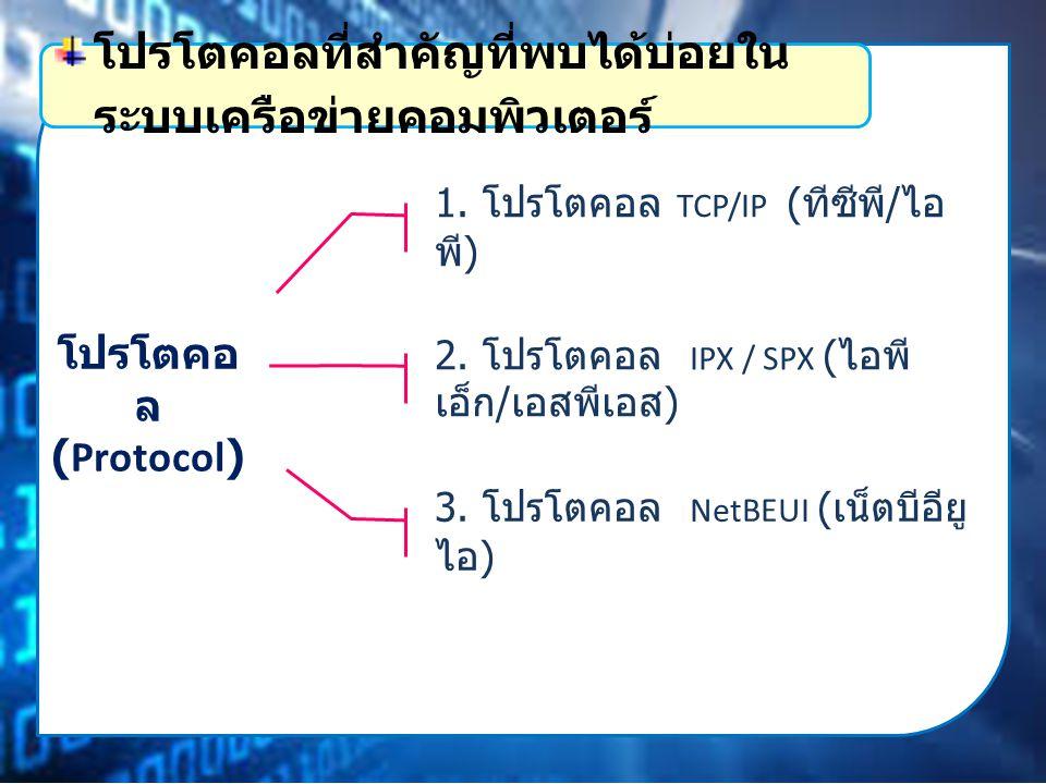 โปรโตคอ ล (Protocol) 1.