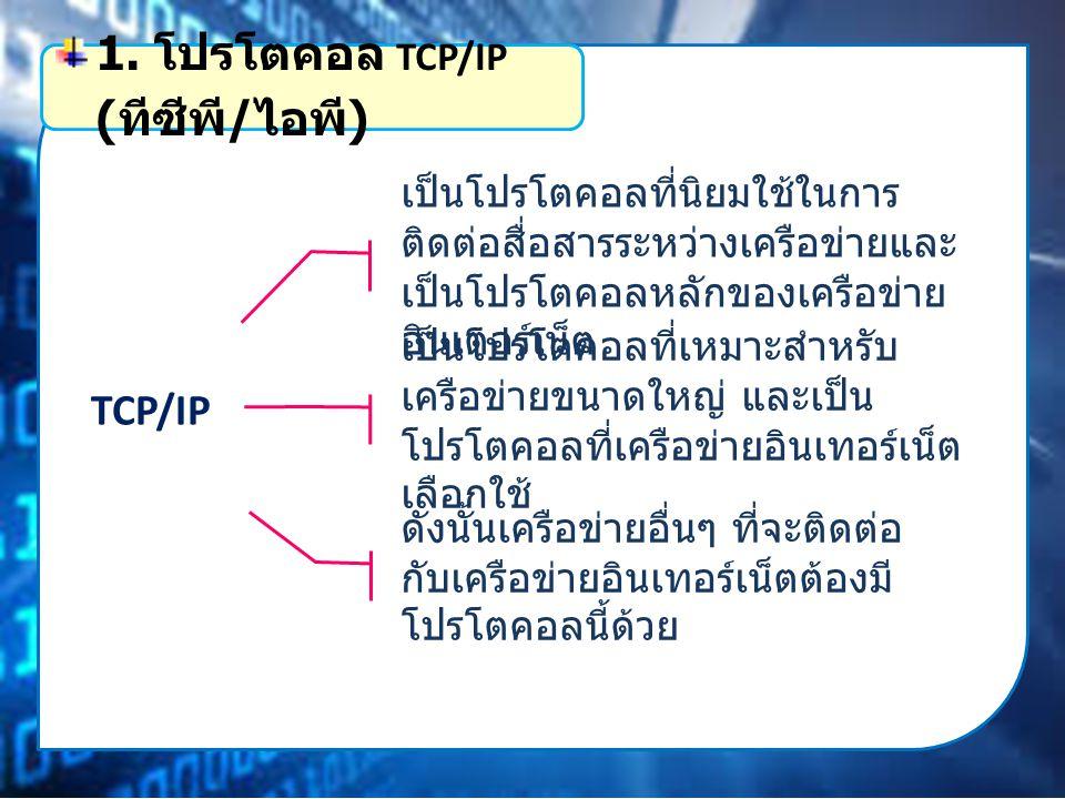 TCP/IP เป็นโปรโตคอลที่นิยมใช้ในการ ติดต่อสื่อสารระหว่างเครือข่ายและ เป็นโปรโตคอลหลักของเครือข่าย อินเตอร์เน็ต 1.