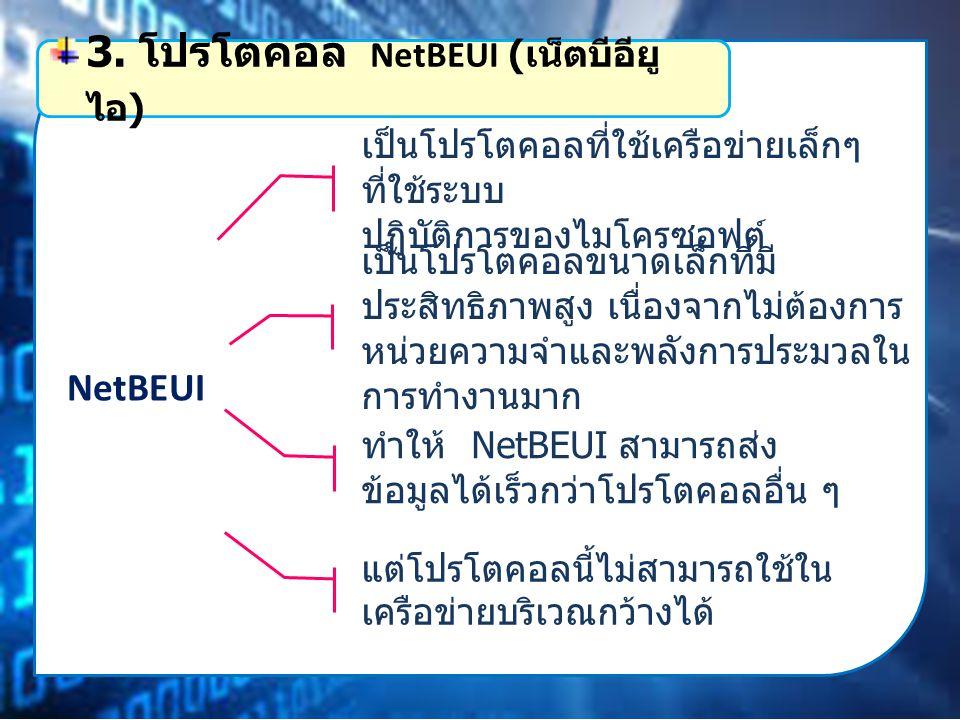 NetBEUI เป็นโปรโตคอลที่ใช้เครือข่ายเล็กๆ ที่ใช้ระบบ ปฏิบัติการของไมโครซอฟต์ 3.