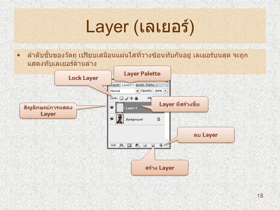 Layer ( เลเยอร์ ) ลำดับชั้นของวัตถุ เปรียบเสมือนแผ่นใสที่วางซ้อนทับกันอยู่ เลเยอร์บนสุด จะถูก แสดงทับเลเยอร์ด้านล่าง Layer Palette สร้าง Layer ลบ Layer Layer ที่สร้างขึ้น Lock Layer สัญลักษณ์การแสดง Layer 15