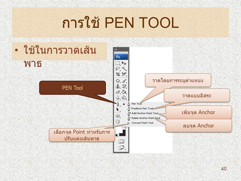 การใช้ PEN TOOL ใช้ในการวาดเส้น พาธ 40 PEN Tool วาดโดยการระบุตำแหน่ง วาดแบบอิสระ เพิ่มจุด Anchor ลบจุด Anchor เลือกจุด Point ทำหรับการ ปรับแต่งเส้นพาธ