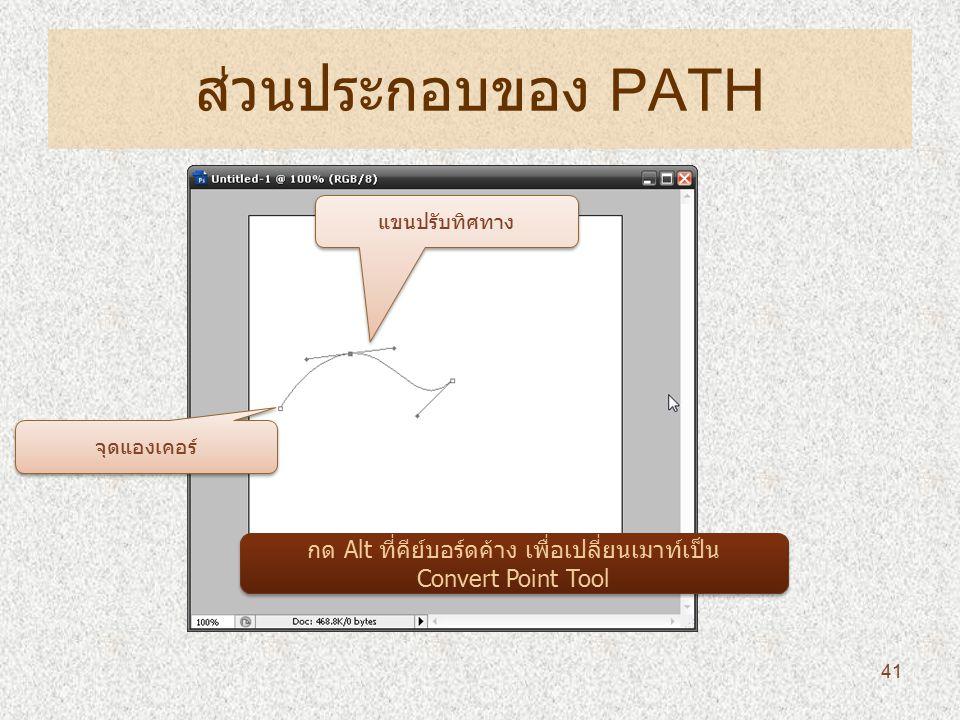 ส่วนประกอบของ PATH 41 จุดแองเคอร์ แขนปรับทิศทาง กด Alt ที่คีย์บอร์ดค้าง เพื่อเปลี่ยนเมาท์เป็น Convert Point Tool