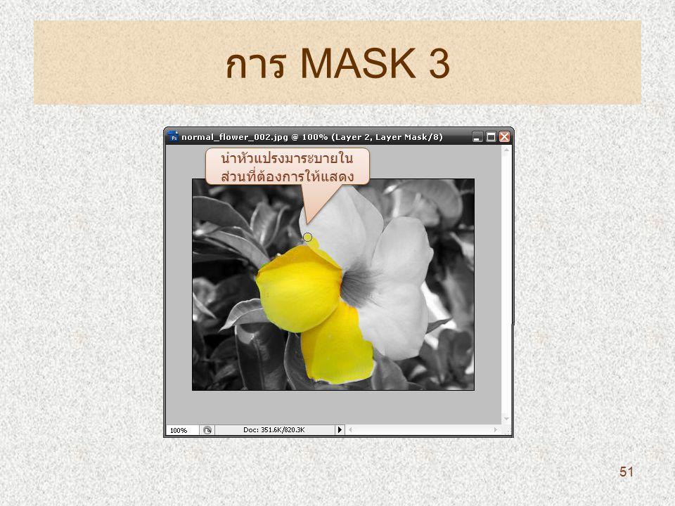 การ MASK 3 นำหัวแปรงมาระบายใน ส่วนที่ต้องการให้แสดง 51