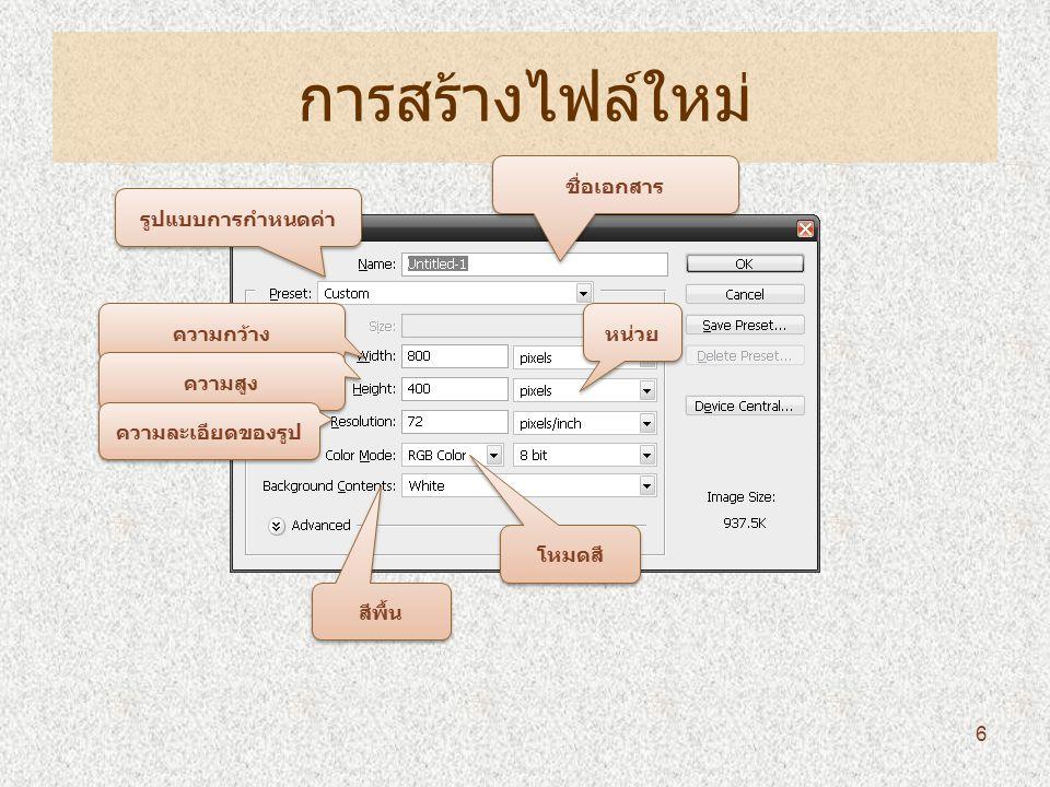 การทำงานเกี่ยวกับตัวหนังสือ 1 Click ข้อความตาม แนวนอน ข้อความตามแนวตั้ง ข้อความแบบ Selection แนวนอน ข้อความแบบ Selection แนวตั้ง 27