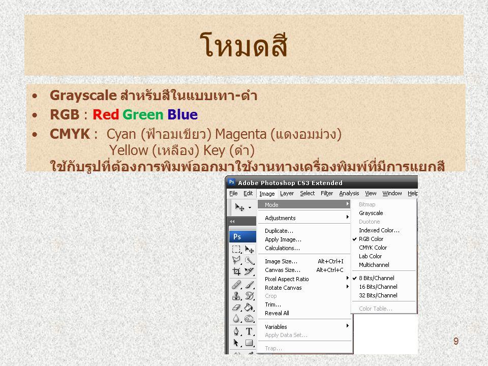 โหมดสี Grayscale สำหรับสีในแบบเทา-ดำ RGB : Red Green Blue CMYK : Cyan (ฟ้าอมเขียว) Magenta (แดงอมม่วง) Yellow (เหลือง) Key (ดำ) ใช้กับรูปที่ต้องการพิมพ์ออกมาใช้งานทางเครื่องพิมพ์ที่มีการแยกสี 9