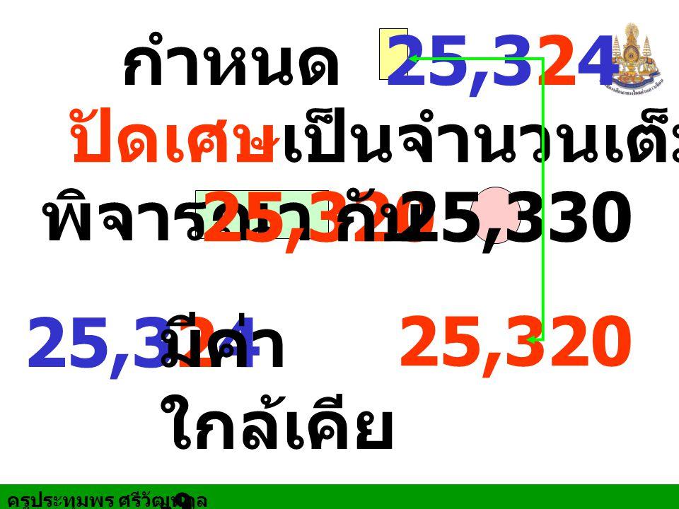 ครูประทุมพร ศรีวัฒนกูล กำหนด 25,324 ปัดเศษเป็นจำนวนเต็มสิบ พิจารณา 25,32025,330 25,324 มีค่า ใกล้เคีย ง 25,320 กับ