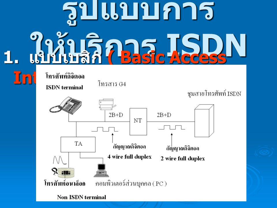 รูปแบบการ ให้บริการ ISDN 1. แบบเบสิก ( Basic Access Interface 2B+D หรือ BAI )