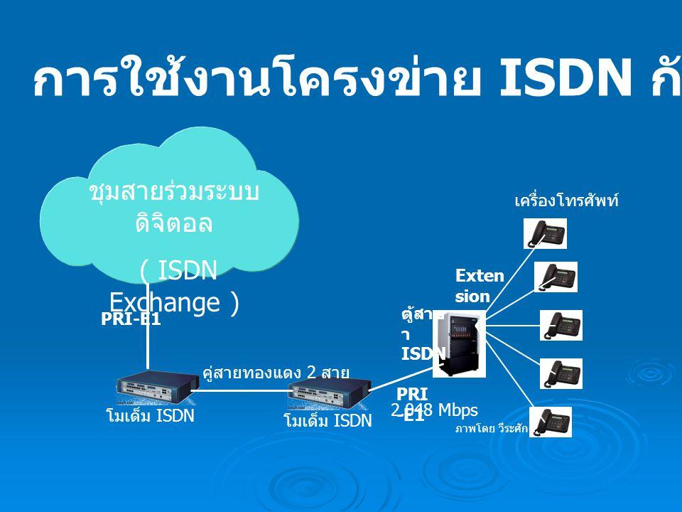 ชุมสายร่วมระบบ ดิจิตอล ( ISDN Exchange ) โมเด็ม ISDN คู่สายทองแดง 2 สาย PRI-E1 Exten sion เครื่องโทรศัพท์ ตู้สาข า ISDN 2.048 Mbps PRI -E1 ภาพโดย วีระศักดิ์ การใช้งานโครงข่าย ISDN กับตู้สาขาโทรศัพท์
