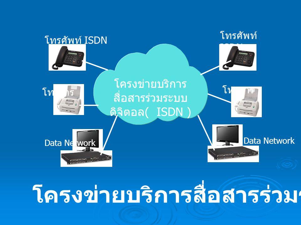 โครงข่ายบริการ สื่อสารร่วมระบบ ดิจิตอล ( ISDN ) โทรศัพท์ ISDN โทรสาร Data Network โครงข่ายบริการสื่อสารร่วมระบบดิจิตอล