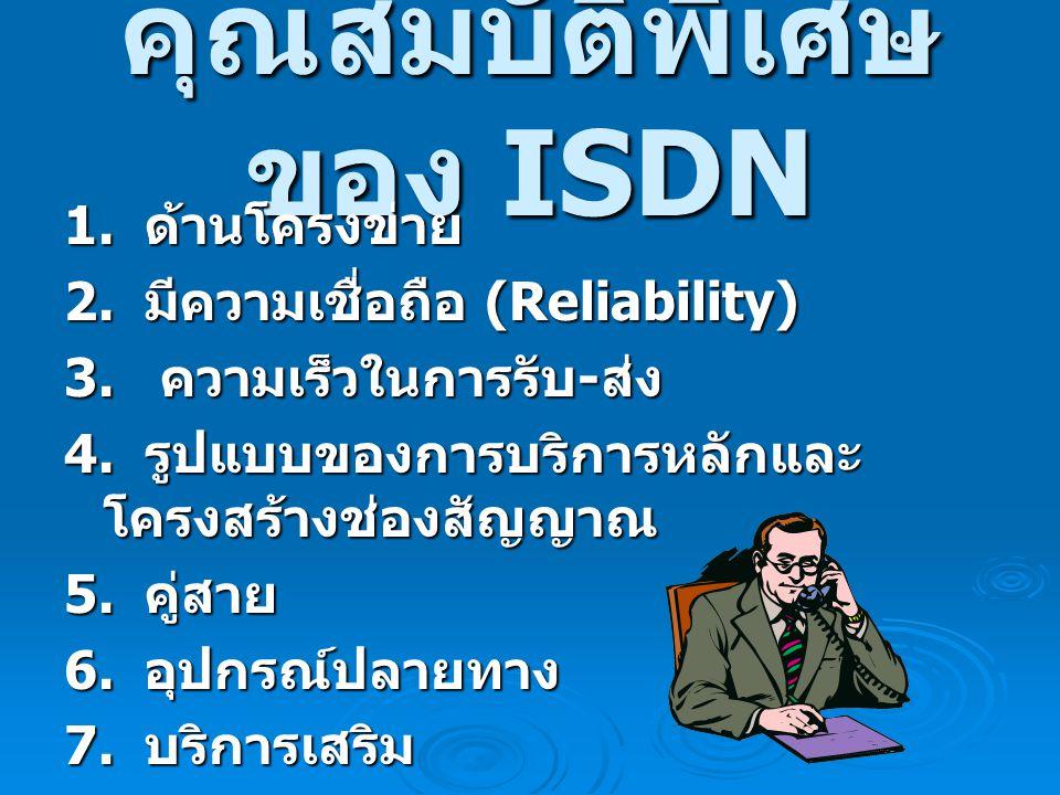 คุณสมบัติพิเศษ ของ ISDN 1.ด้านโครงข่าย 1. ด้านโครงข่าย 2.
