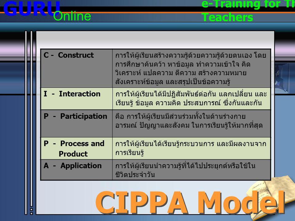 องค์ประกอบหลักของ การเรียนแบบร่วมมือ (Key Elements of Cooperative Learning) GURU Online e-Training for Thai Teachers