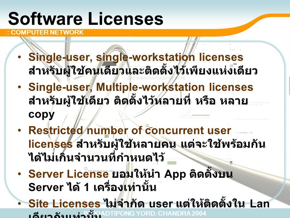 BY KIADTIPONG YORD. CHANDRA 2004 :: COMPUTER NETWORK Software Licenses Single-user, single-workstation licenses สำหรับผู้ใช้คนเดียวและติดตั้งไว้เพียงแ