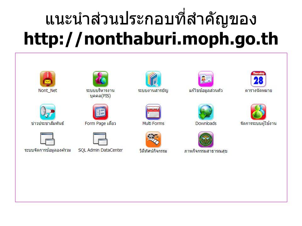 แนะนำส่วนประกอบที่สำคัญของ http://nonthaburi.moph.go.th