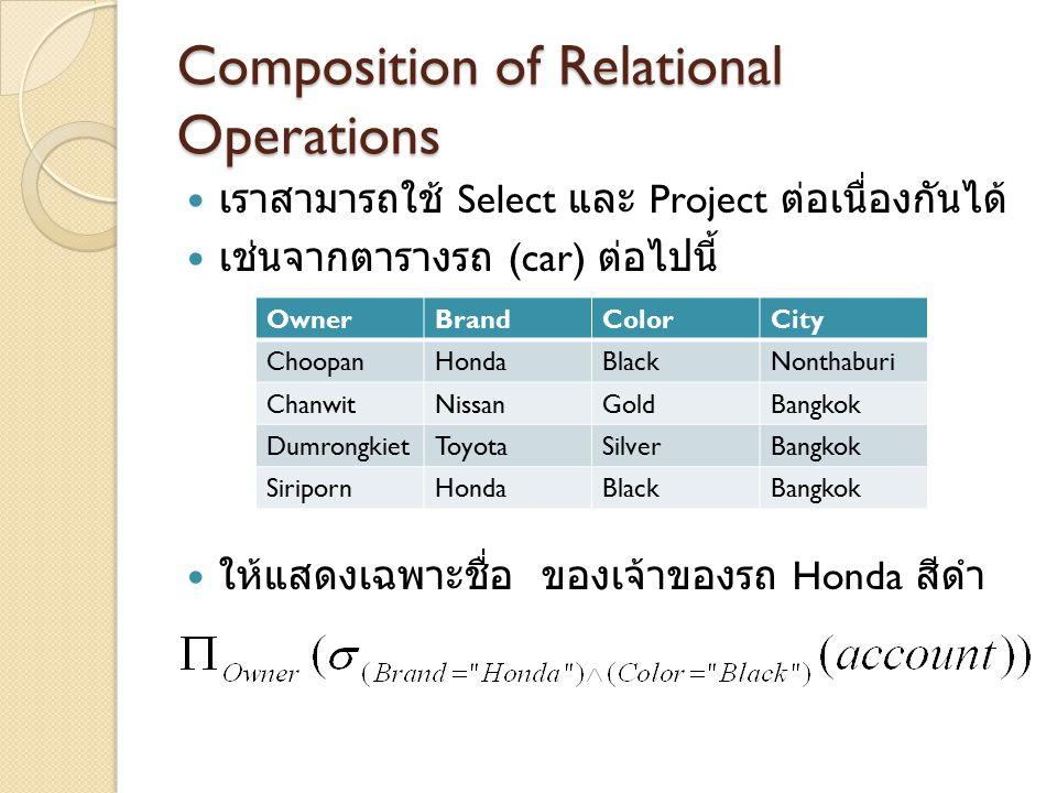 Composition of Relational Operations เราสามารถใช้ Select และ Project ต่อเนื่องกันได้ เช่นจากตารางรถ (car) ต่อไปนี้ ให้แสดงเฉพาะชื่อ ของเจ้าของรถ Honda