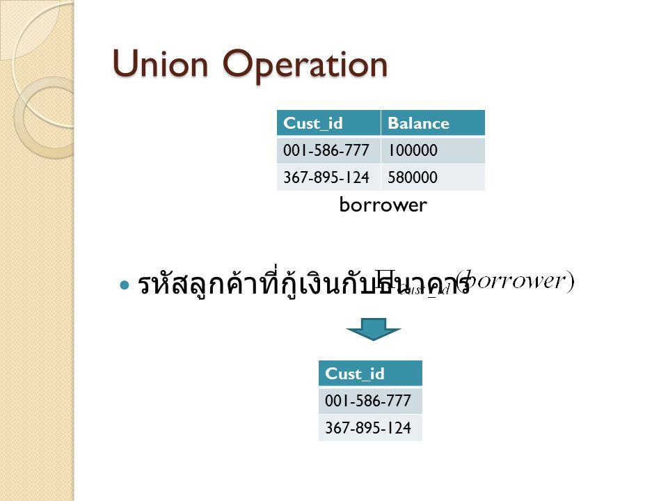 Union Operation borrower รหัสลูกค้าที่กู้เงินกับธนาคาร Cust_idBalance 001-586-777100000 367-895-124580000 Cust_id 001-586-777 367-895-124