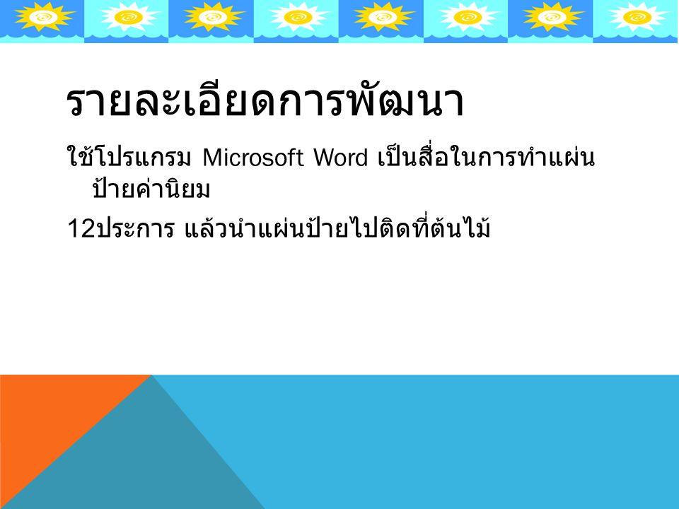 รายละเอียดการพัฒนา ใช้โปรแกรม Microsoft Word เป็นสื่อในการทำแผ่น ป้ายค่านิยม 12 ประการ แล้วนำแผ่นป้ายไปติดที่ต้นไม้