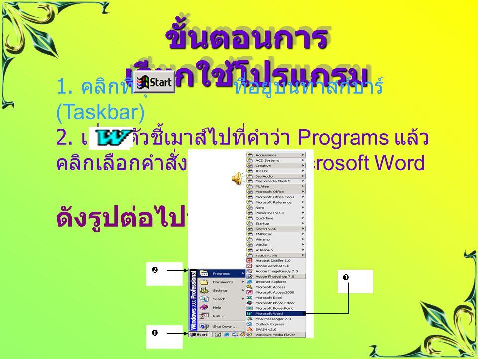  ก่อนเริ่มต้นใช้งานโปรแกรม Microsoft Word เพื่อสร้าง เอกสารรายงานต่าง ๆ เราจำเป็นต้องรู้ วิธีการเรียกใช้งาน ที่ถูกต้อง เพื่อให้ใช้ โปรแกรมได้อย่างมีประสิทธิภาพ  ก่อนเริ่มต้นใช้งานโปรแกรม Microsoft Word เพื่อสร้าง เอกสารรายงานต่าง ๆ เราจำเป็นต้องรู้ วิธีการเรียกใช้งาน ที่ถูกต้อง เพื่อให้ใช้ โปรแกรมได้อย่างมีประสิทธิภาพ