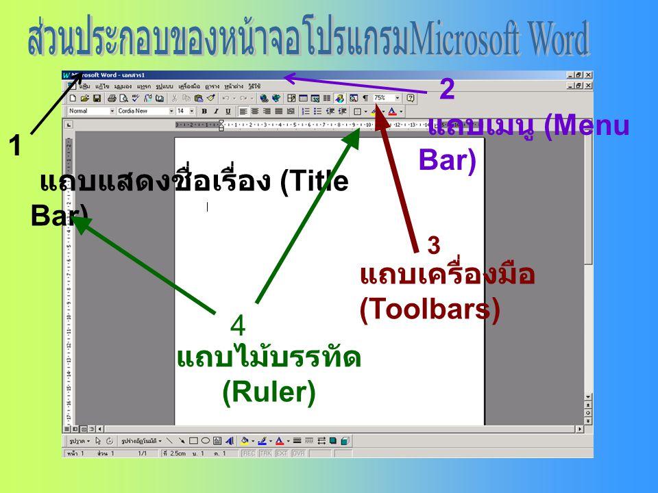 1 แถบแสดงชื่อเรื่อง (Title Bar) 2 แถบเมนู (Menu Bar) 3 แถบเครื่องมือ (Toolbars) 4 แถบไม้บรรทัด (Ruler)