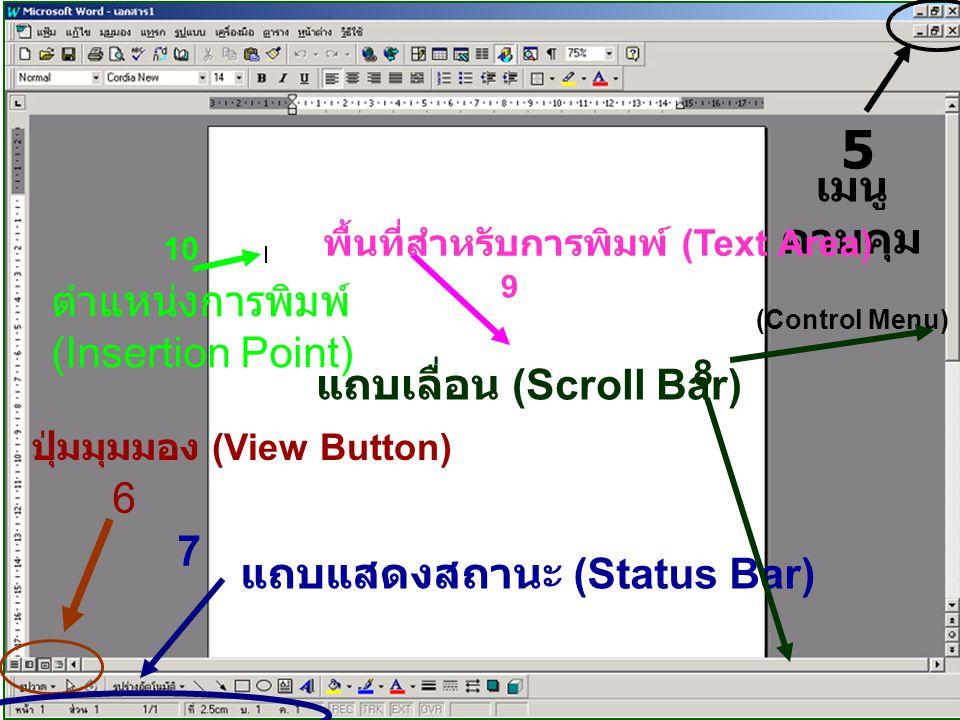 5 เมนู ควบคุม (Control Menu) 6 ปุ่มมุมมอง (View Button) 7 แถบแสดงสถานะ (Status Bar) 8 แถบเลื่อน (Scroll Bar) พื้นที่สำหรับการพิมพ์ (Text Area) 9 10 ตำแหน่งการพิมพ์ (Insertion Point)