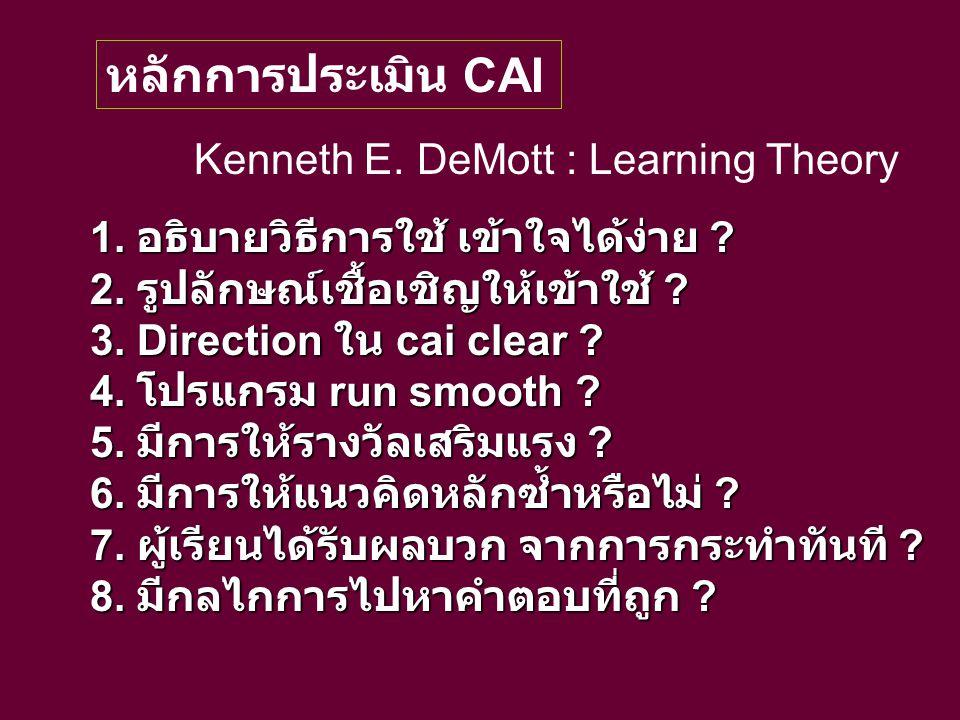 หลักการประเมิน CAI Kenneth E. DeMott : Learning Theory 1. อธิบายวิธีการใช้ เข้าใจได้ง่าย ? 2. รูปลักษณ์เชื้อเชิญให้เข้าใช้ ? 3. Direction ใน cai clear