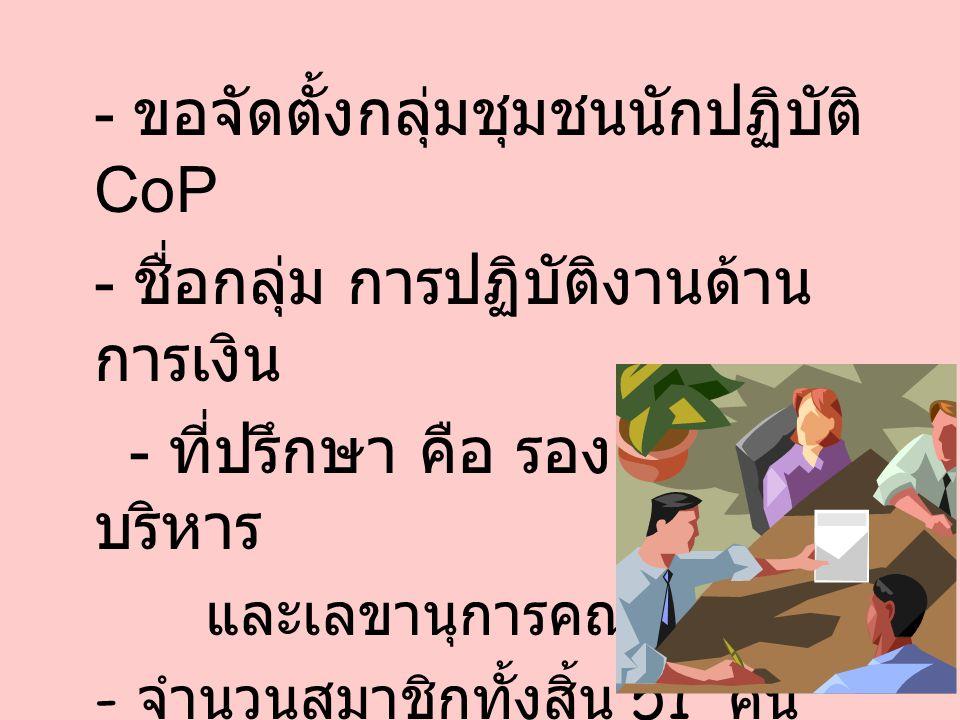 - ขอจัดตั้งกลุ่มชุมชนนักปฏิบัติ CoP - ชื่อกลุ่ม การปฏิบัติงานด้าน การเงิน - ที่ปรึกษา คือ รองคณบดีฝ่าย บริหาร และเลขานุการคณะ - จำนวนสมาชิกทั้งสิ้น 51