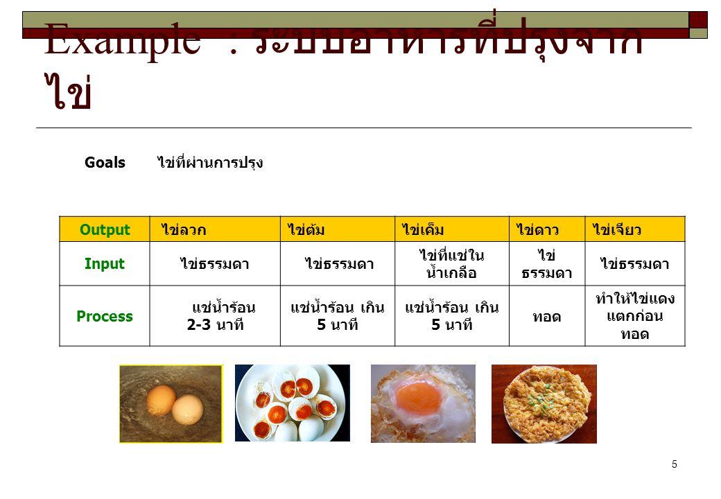 5 Example : ระบบอาหารที่ปรุงจาก ไข่ Goalsไข่ที่ผ่านการปรุง Output ไข่ลวกไข่ต้มไข่เค็มไข่ดาวไข่เจียว Inputไข่ธรรมดา ไข่ที่แช่ใน น้ำเกลือ ไข่ ธรรมดา Pro