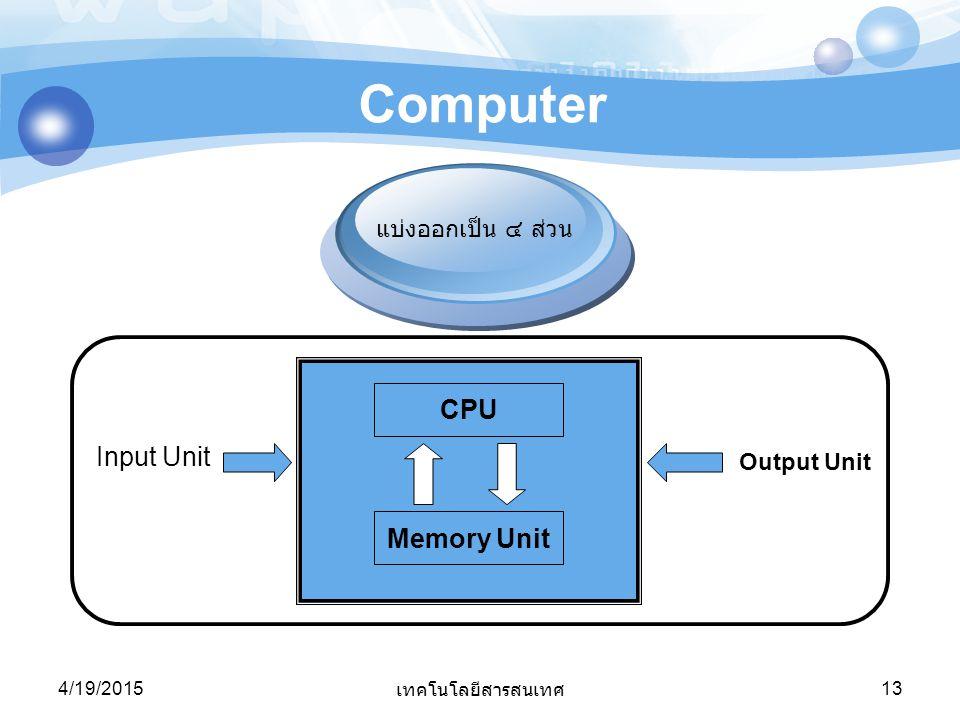 4/19/2015 เทคโนโลยีสารสนเทศ 13 Computer แบ่งออกเป็น ๔ ส่วน Input Unit Output Unit CPU Memory Unit