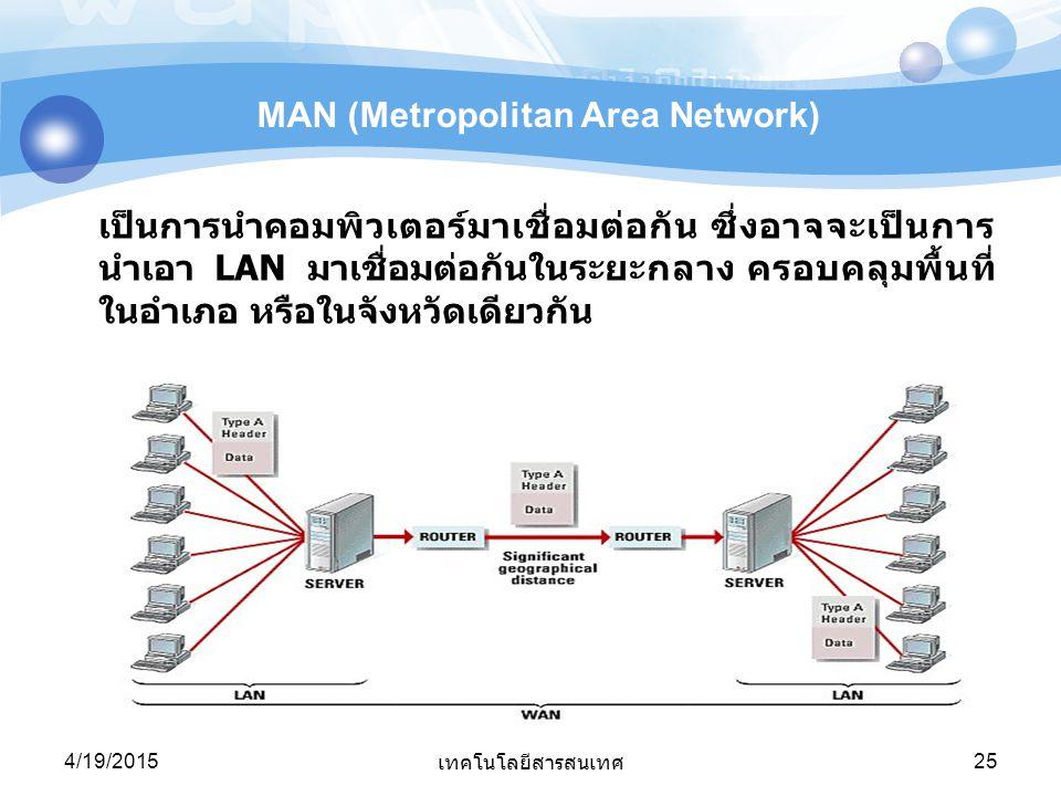 4/19/2015 เทคโนโลยีสารสนเทศ 25 MAN (Metropolitan Area Network) เป็นการนำคอมพิวเตอร์มาเชื่อมต่อกัน ซึ่งอาจจะเป็นการ นำเอา LAN มาเชื่อมต่อกันในระยะกลาง